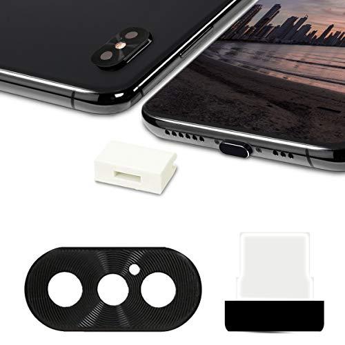 kwmobile 3in1 Set: Kameraschutz Staubschutz Set kompatibel mit Apple iPhone XS - Schutz Stöpsel Schwarz