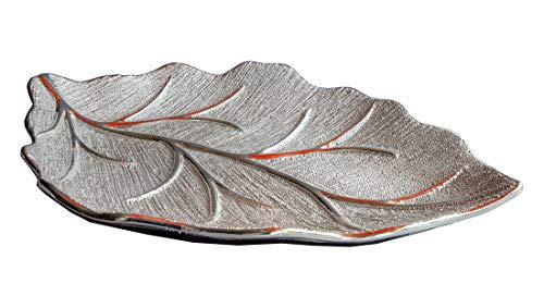 Formano Deko-Schale, in Blattform, 33 cm Champagner-Silber, edel, Baumstruktur
