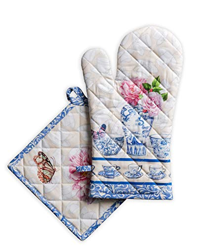 Maison d' Hermine Canton 100% Cotton Set of Oven Mitt (7.5 Inch by 13 Inch) and Pot Holder (8 Inch by 8 Inch) for BBQ   Cooking   Baking   Grilling   Microwave   Barbecue   Spring/Summer