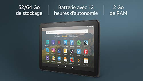 """Tablette Fire HD 8, écran HD 8"""" (20,3 cm), 32 Go (Noir), Avec publicités"""