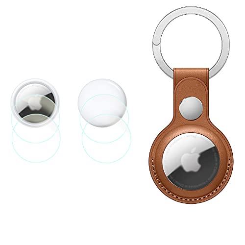 Ledertaschen mit Schlüsselring & Displayschutzfolie für Air Tags (2 vorne & 2 hinten) WH1916 TPU Ultradünne HD Schutzfolie Anti-Blasen Anti-Scrach
