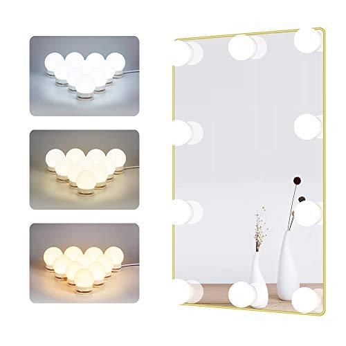 Spiegel Leuchten für Schmink Tisch Kosmetik Lampen für DIY Hollywood Make up Spiegel, LED Birnen mit Touch Sensor Dimmer und Netzteil, 10 Lampen, 4 Meter, 3 Farbtöne, Spiegel nicht enthalten