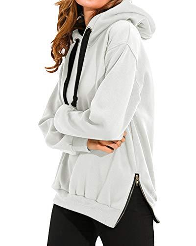 VONDA Bluza damska oversize, długa, sportowa, jednokolorowa, na zimę, elegancka