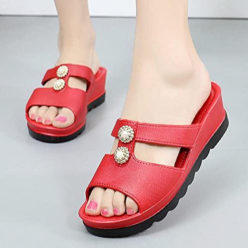 ypyrhh Sandalias Moda Casual,Sandalias de Moda Fuera de la Moda,Sandalias descuidadas.-Rojo_36,para Hombre Chanclas Slider