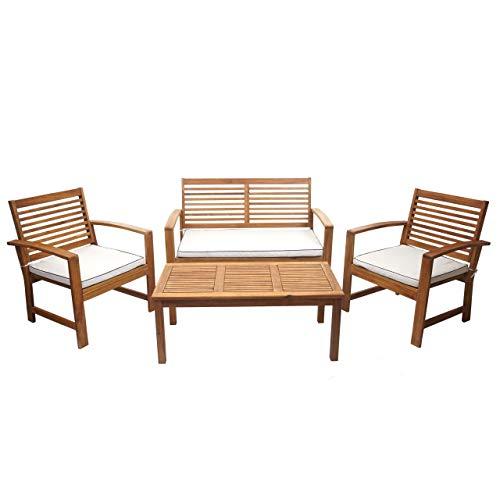 Mendler Gartengarnitur HWC-E99, Sitzgruppe Balkon-Set Lounge-Set, Akazienholz massiv Kissen Creme