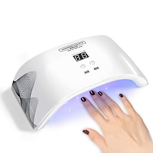 Lavender Violets Gel Nail Lamp 24W LED Nail Dryer USB UV Light Auto Sensor Pre Timer Setting Motion...