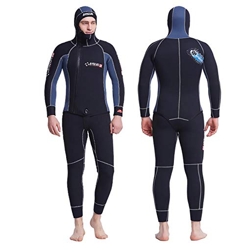 YYFIRE Mens Wetsuit 5Mm Mens Full Spearfishing Wetsuits 5MM Hooded Wetsuit 2 Pieces Spear Fishing Zipper Scuba Dive Swimming Spearfishing Suit Men,S