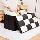 B.N.D TOP Folding Storage Ottoman Bench, Storage Chest Footrest Padded Seat, Faux Leather, Black & White 30 Inches use it as Shoe Storage Seat or Blanket Chest Black & White Bench (30')