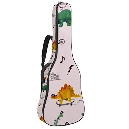 Bolsa de guitarra acústica DJ dinosaurio impresión personalizada tamaño completo caja de guitarra Gig bolsa con asa acolchada correa de hombro