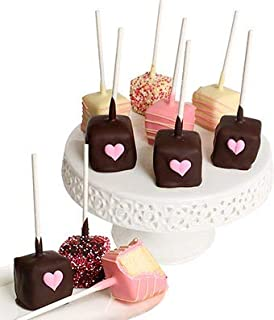 From You Flowers - 10 Pieces - Belgian Chocolate Dipped Cheesecake Pops (An Assortment of Milk, White and Dark Chocolate)