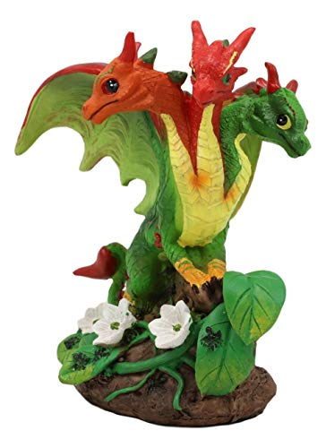 Ebros Colorful Garden Fruits and Berries Green Thumb Dragon Statue by Stanley Morrison Medieval Fairy Dragons Fantasy Decor Figurine (Spicy Red and Green Chili Peppers Hydra)