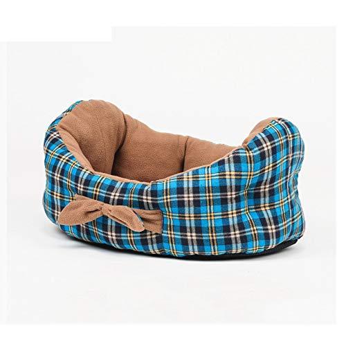 YANRUN Reines Baumwoll-Plaid-hundebett In Bootsform, Weiches Und Bequemes Eingebautes Kissen (auf Beiden Seiten Erhältlich), Erhältlich In Allen Jahreszeiten M: 60x45cm Blau