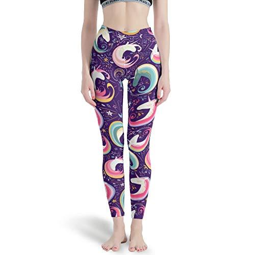 Wecrayon Unicornio Estrellas Mujer Pantalones de Yoga Pantalones Deportivos Largos Cintura Alta Blinkdicht Leggins Fitness Pantalones de Correr Pantalones de Ocio Gym Workout Leggings Blanco M
