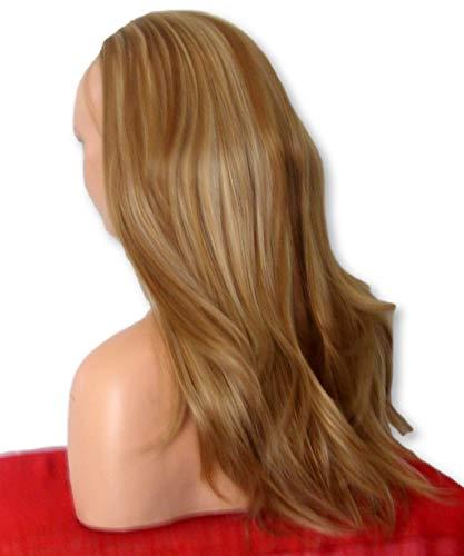 perruque Fashion 55,9 cm Mesdames 3/4 Perruque moitié Fall – sexy longue droite couches Flick style – Marron clair blond – Résistant à la chaleur – Synthétique Clip de cheveux de femmes Extension Y23