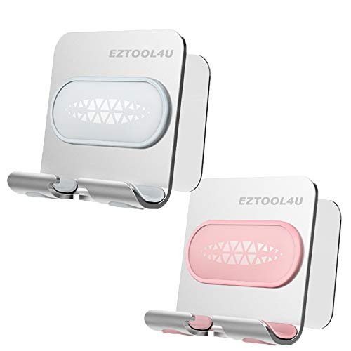 EZTOOL4U Shower Phone Holder (2Pack) Adjustable Premium Wall Mount Aluminum Stand, Easy Adhesive Strips, Anti-Slip Base and Charging Port, Compatible with iPhone Samsung Galaxy, for Bathroom, Kitchen