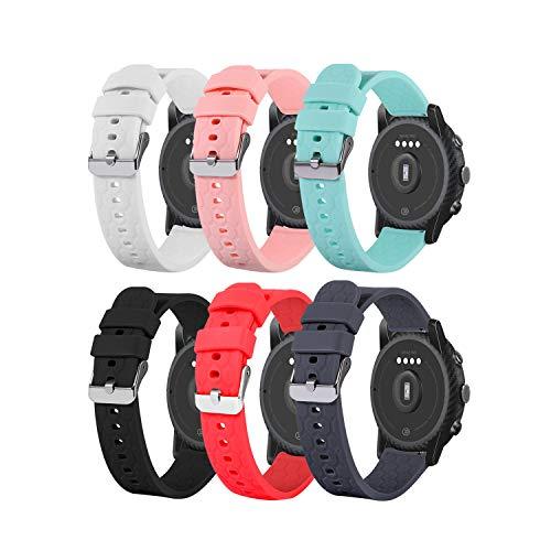 Tencloud Correas compatibles con Umidigi Uwatch 3/Willful/LIFEBEE/Letsfit/Letscom ID205L, correa de silicona suave, ajustable, accesorio para reloj inteligente Uwatch3 (6 colores)