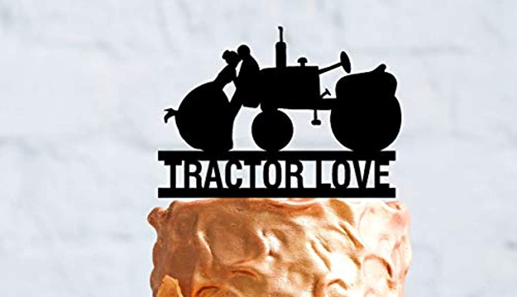 Tractor Wedding Cake Topper with Bride and Groom. Personalized with your Name or Phrase, Tractor Love