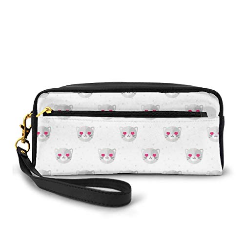 Pencil Case Pen Bag Pouch Stationary,Cat Faces with Pink Heart Shaped Eyes Romantic Animal Kitty Mascot in Love,Small Makeup Bag Coin Purse
