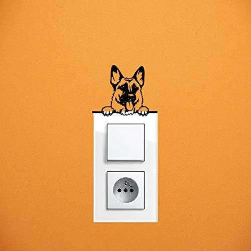 myrockshirt Adhesivo para interruptor de luz, diseño de perro pastor alemán, aprox. 10 cm, para coche, pintura, disco y pared, adhesivo de calidad profesional