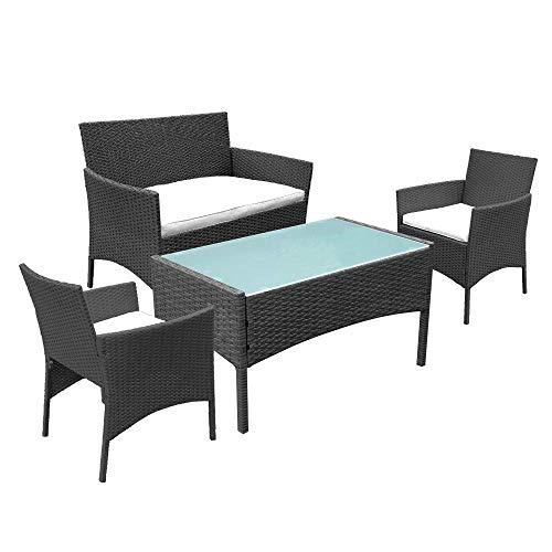 Hengda Gartenmöbel Set Poly Rattan Sitzgruppe Lounge Set Langlebig Lounge Set für 4 Personen - Mit 2-er Sofa, Singlestühle, Tisch und Sitzkissen - Schwarz