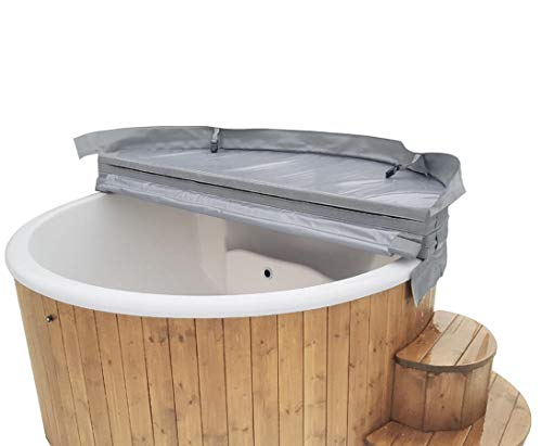 bambus-discount.com Badebottich 200cm mit weißem Fiberglas Einsatz fertig montiert, mit Außenofen - - Badefass Badefässer Badetonnen Hot Tub