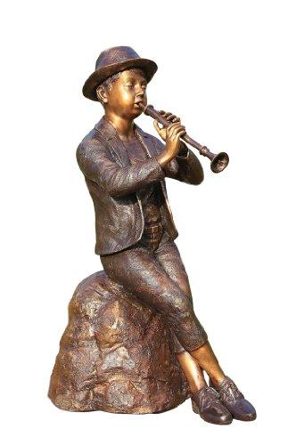 Steinfiguren Horn Skulptur Flötenspieler, Figur aus Bronze, 80 cm Hoch, sehr detailliert
