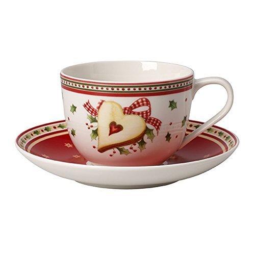 Villeroy & Boch Winter Bakery Delight Kaffeetasse mit Untertasse 2tlg., 22 x 16 x 8 cm, weiß/rot/beige