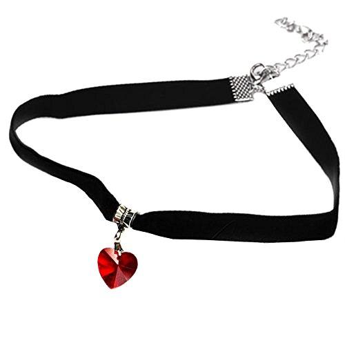 EROSPA® Gothic Samt-Halsband mit Anhänger Herz Glas Damen Mädchen - rot
