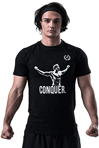 AESTHETIC LEGACY Premium Arnold - Conquer T-Shirt | Slim-Fit Herren Trainingsshirt | perfekt für Bodybuilding, Fitness-Training, Sport, Workout & Gym (T-Shirt, XL)