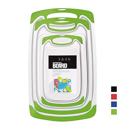 Set 3-teilig Innovatives Schneidebrett,Kunststoff-Schneidebretter, Küchen-Schneidebretter, größere Schneidematte, wendbar, leicht, kein BPA, spülmaschinenfest. (Green)