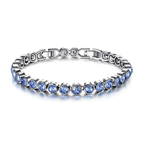 Susan Y Tennis Bracelets Aquamarine Jewellery for Women Crystal Bracelet Jewellery Gifts for Women Personalised Anniversary Graduation Birthday Gifts for Mum Ladies Friendship Gifts Light Sapphire
