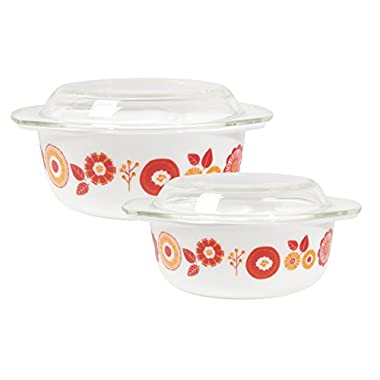 Now Designs Mod Glass Retro Glass Bakeware (Set of 2), Blomma Floral Design