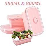 WENTS Boîte à Lunch Pliante en Silicone Support Pliable conteneurs de Stockage de Nourriture Silicone Pliable Alimentaires en Silicone 350ml&800ml