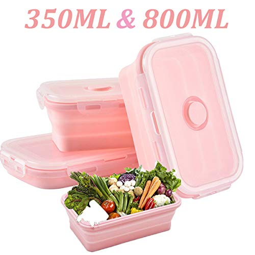 WENTS Kinder Brotdose Lunchbox Faltbare Lunchbox Set Silikon Aufbewahrungsdosen Brotdose BPA frei, Spülmaschinengeeignet , Gefrierschrank- und Mikrowellegeeignet, 2pcs