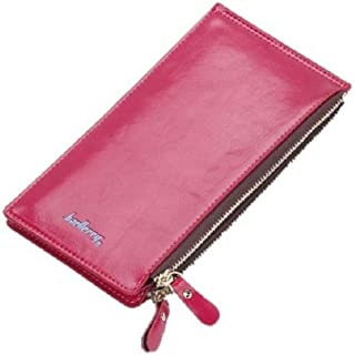 Small Pink Vegan Leather Double Zipper Slim Bifold Snap Wallet for Women, Compact with Large Capacity