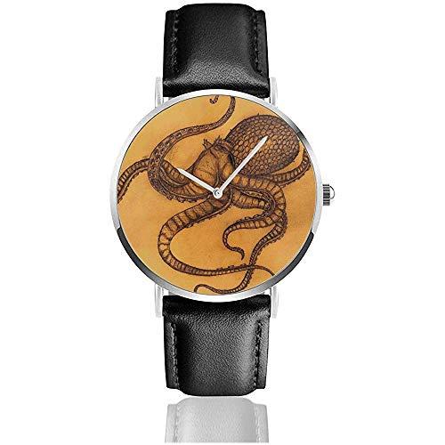 Reloj Octopus Ocean Sealife para Hombres Reloj de Cuero de la PU para Hombre Reloj de Pulsera Casual Delgado