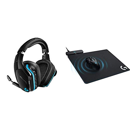 Logitech G935 Wireless DTS:X 7.1 Surround Sound LIGHTSYNC RGB PC Gaming Headset & G Powerplay Wireless Charging System for G703, G903 Lightspeed Wireless Gaming Mice, Cloth or Hard Gaming Mouse Pad