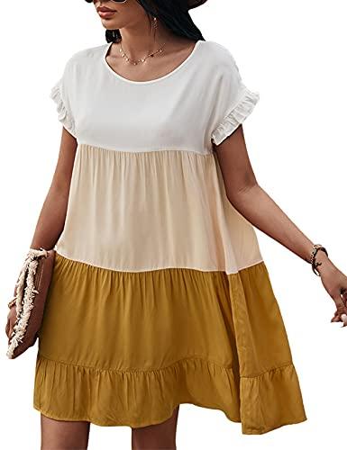 Vestido de Verano con Columpio para Mujer Color Block Ruffle A-Line Babydoll Mini Vestidos Amarillo M