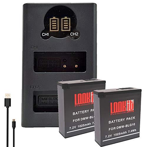 2X LOOKit Premium Akku BLG10- echte 1025mAh + LOOKit Dual USB LCD Ladegerät für Panasonic Lumix DC G110 TZ202 GX9 TZ96 DC LX100 II - 100% dekodiert - mit Infochip