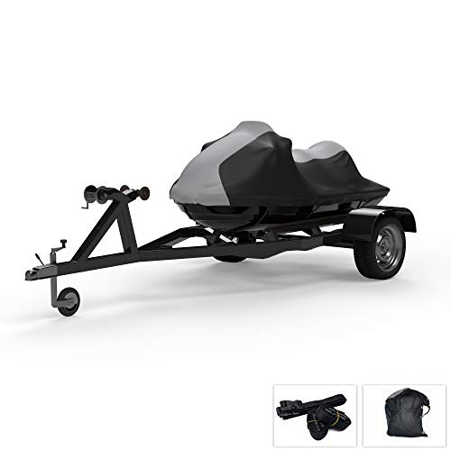 Weatherproof Jet Ski Covers for Kawasaki Jet Ski Ultra 150 1999-2005 - Gray/Black Color - All Weather - Trailerable - Protects from Rain, Sun, and More! Includes Trailer Straps and Storage Bag