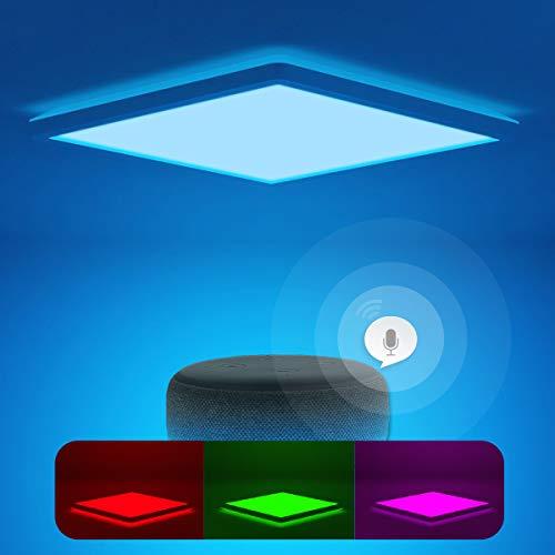 Smart Led Deckenleuchte Flach Dimmbar mit Fernbedienung, Farbwechsel Deckenlampe Kompatibel mit Alexa Google Home, 24W IP44 2.5cm Eckig Ultra Dünn, für Schlafzimmer/ Badezimmer/ Kinderzimmer/ Flur