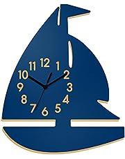 Yourlivingart väggklocka segelbåt blå, barnklocka, klocka för barnrum
