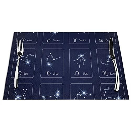 WONDIYA Manteles individuales de estrellas del zodiaco azules, lavables, resistentes al calor, antideslizantes, 6 unidades