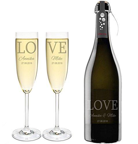 LEONARDO 2 Sektgläser mit Prosecco und Gravur Love Sekt-Glas graviert Hochzeit Geschenkidee Sektglas-Set graviert