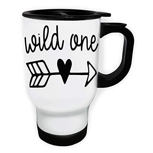 Wild One Love Heart Arrow Tasse de voyage thermique blanche 14oz 400ml gg490tw