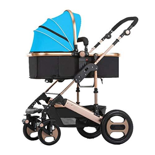 Carrito de bebe Cochecito de oro ligero Cochecito ligero con asa de tres velocidades Carrito de viaje ligero para bebés y bebés pequeños Cochecito/Silla Paseo (Color : Blue)