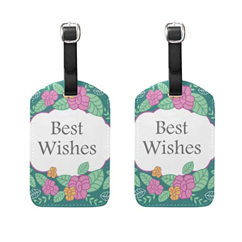 Best Wishes Luggage Tag 2Pcs Portable Address Name Tags Holder Identifier Label Checked Card Travel Accessories for Travel Bag Suitcase