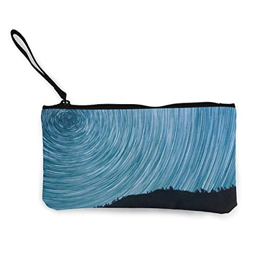 Wrution Stars Milkyway Lachs North Startrails Personalisierte Canvas Münzbörse Tasche...