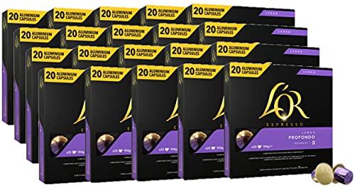 L'OR Lungo Profundo Intensity 9 - Cápsulas de café de aluminio compatibles con Nespresso® * - 20 paquetes de 20 cápsulas (400 bebidas)
