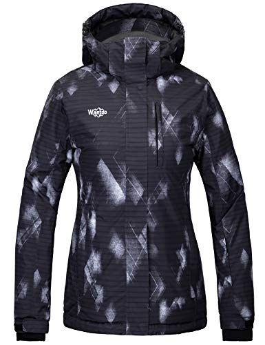 Wantdo Women's Waterproof Ski Mountain Windbreaker Winter Warm Hooded Raincoat Black S
